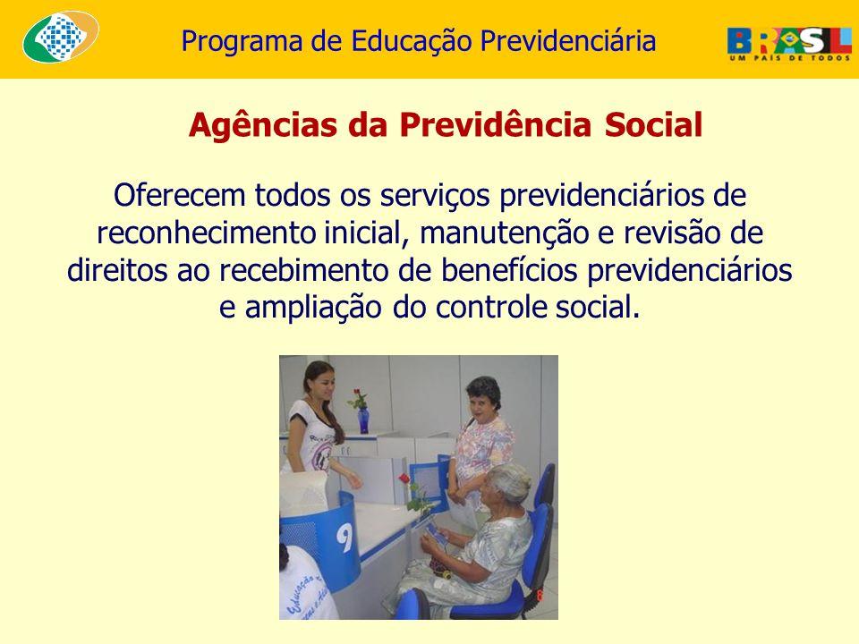Programa de Educação Previdenciária Oferecem todos os serviços previdenciários de reconhecimento inicial, manutenção e revisão de direitos ao recebime