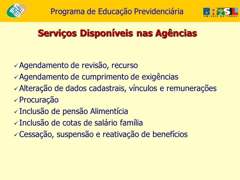 Programa de Educação Previdenciária Agendamento de revisão, recurso Agendamento de cumprimento de exigências Alteração de dados cadastrais, vínculos e