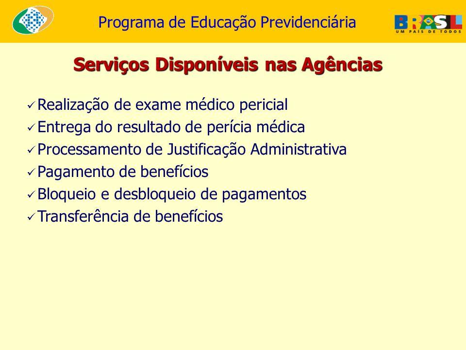 Programa de Educação Previdenciária Realização de exame médico pericial Entrega do resultado de perícia médica Processamento de Justificação Administr