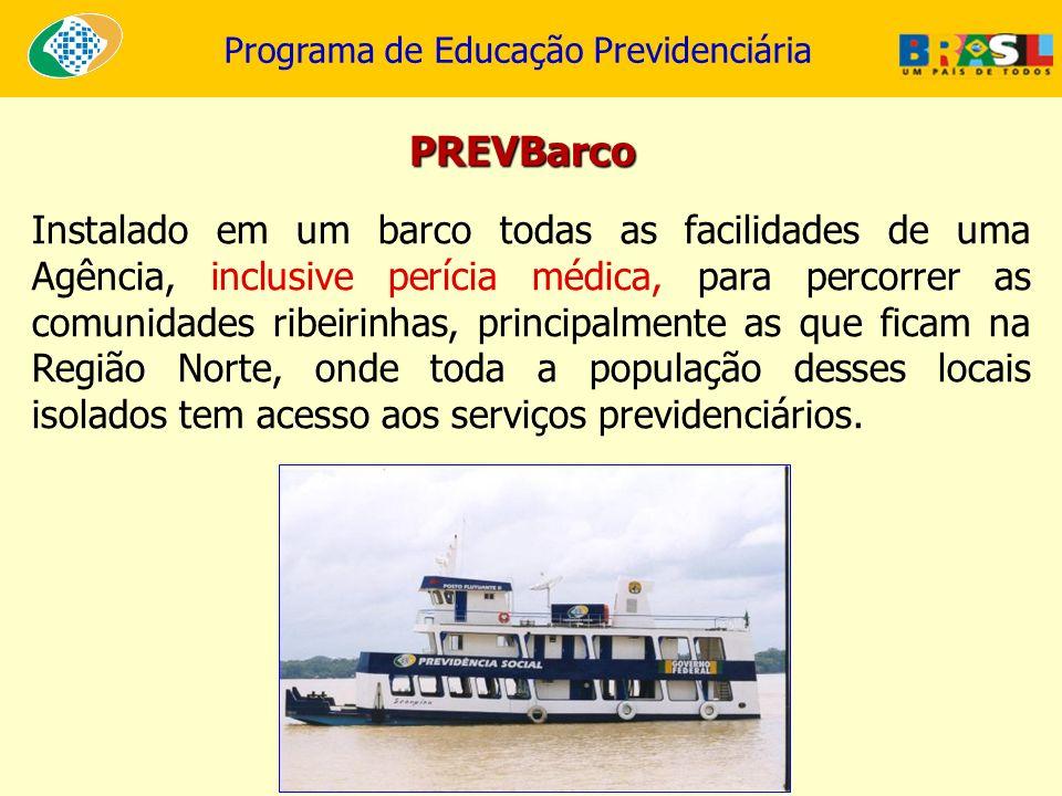 Programa de Educação Previdenciária PREVBarco Instalado em um barco todas as facilidades de uma Agência, inclusive perícia médica, para percorrer as c