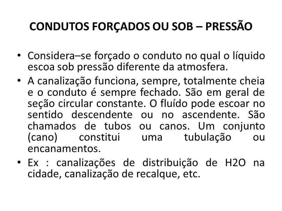 CONDUTOS FORÇADOS OU SOB – PRESSÃO Considera–se forçado o conduto no qual o líquido escoa sob pressão diferente da atmosfera. A canalização funciona,