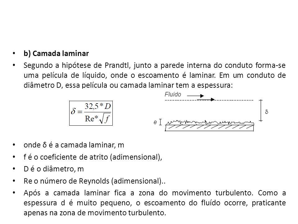 b) Camada laminar Segundo a hipótese de Prandtl, junto a parede interna do conduto forma-se uma película de líquido, onde o escoamento é laminar. Em u