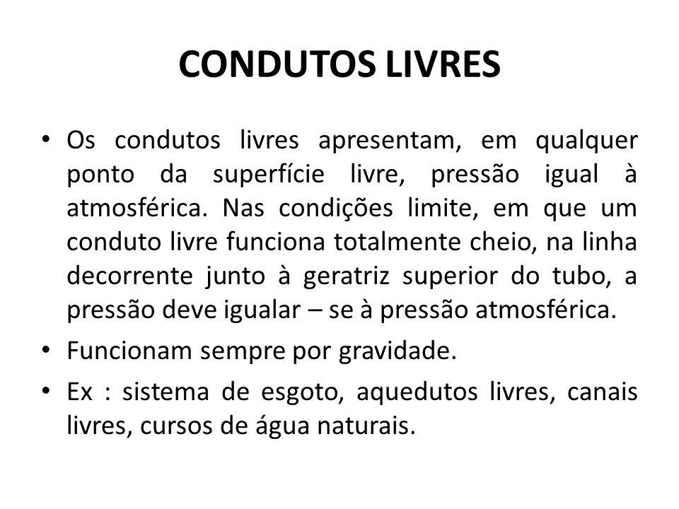 CONDUTOS LIVRES Os condutos livres apresentam, em qualquer ponto da superfície livre, pressão igual à atmosférica. Nas condições limite, em que um con