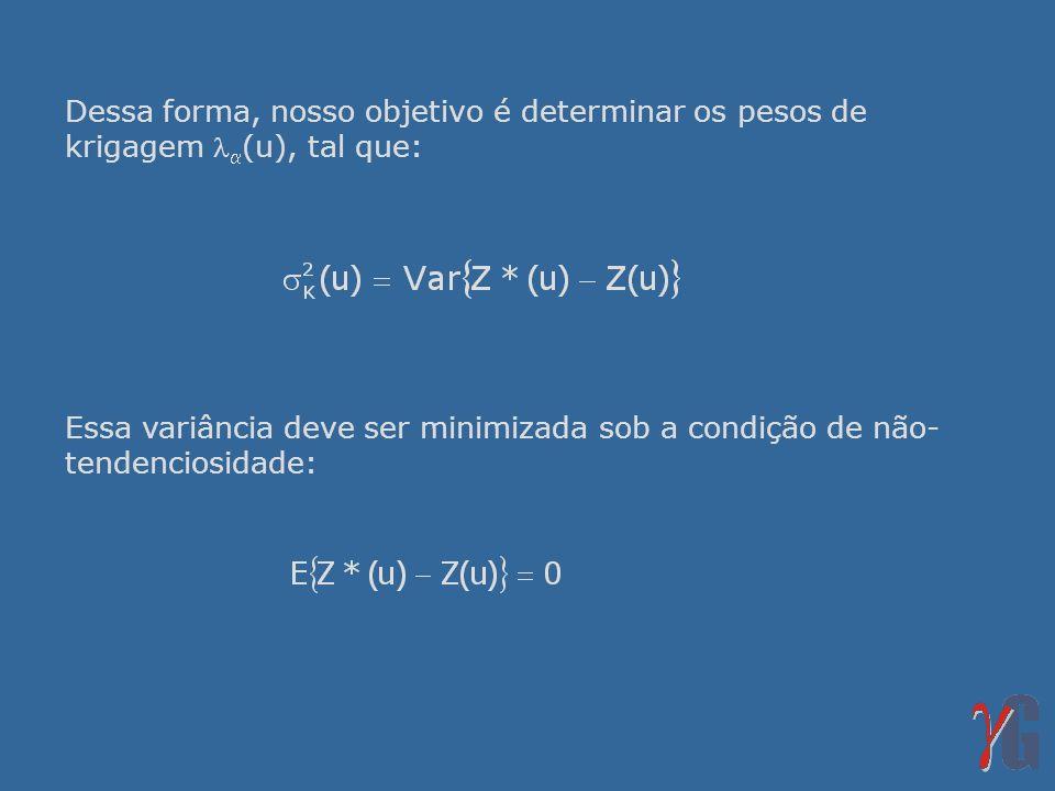Dessa forma, nosso objetivo é determinar os pesos de krigagem (u), tal que: Essa variância deve ser minimizada sob a condição de não- tendenciosidade: