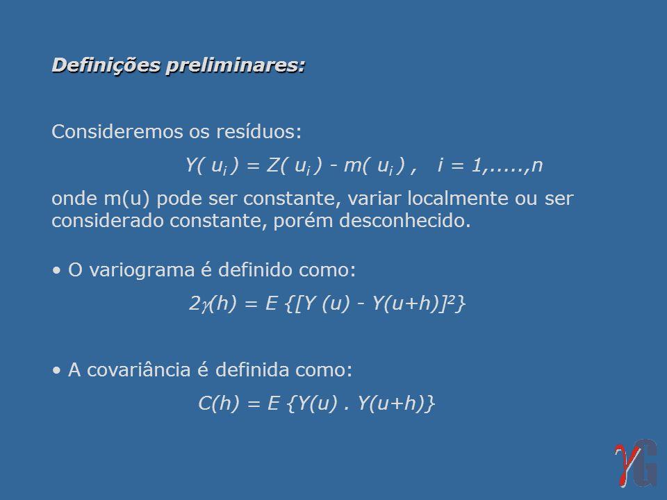 Definições preliminares: Consideremos os resíduos: Y( u i ) = Z( u i ) - m( u i ), i = 1,.....,n onde m(u) pode ser constante, variar localmente ou ser considerado constante, porém desconhecido.
