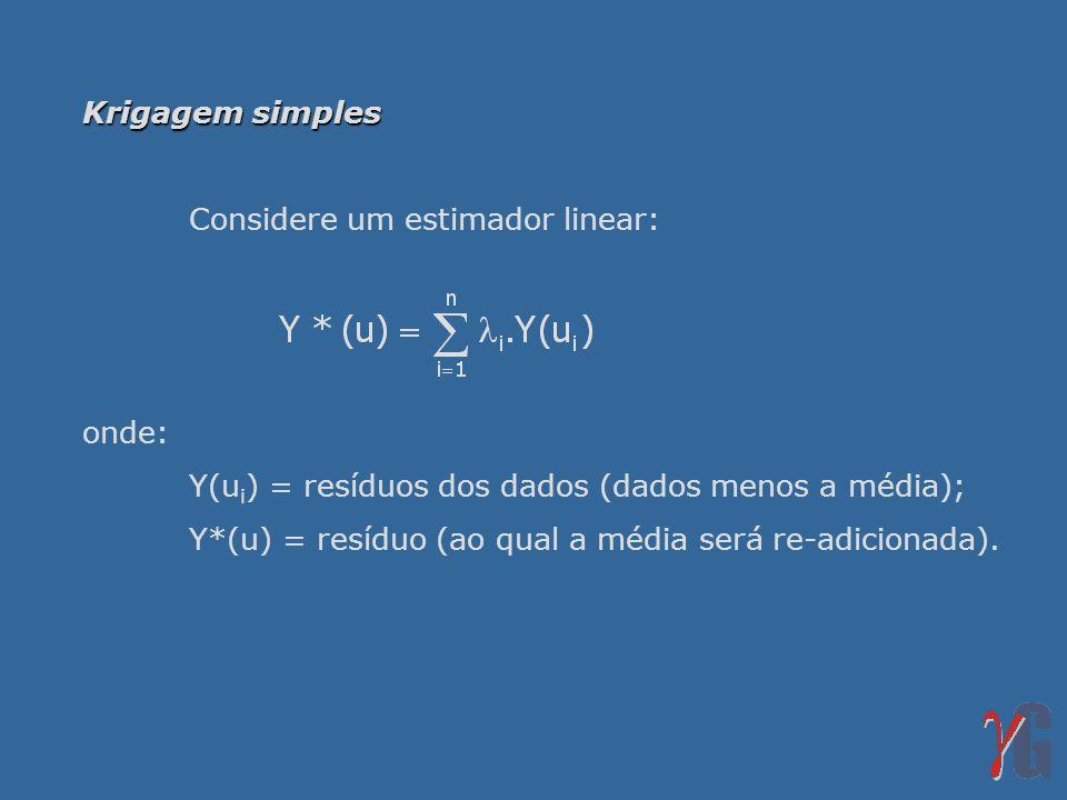Krigagem simples Considere um estimador linear: onde: Y(u i ) = resíduos dos dados (dados menos a média); Y*(u) = resíduo (ao qual a média será re-adi