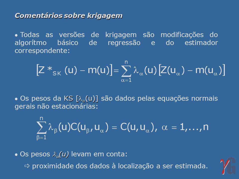 Comentários sobre krigagem Todas as versões de krigagem são modificações do algorítmo básico de regressão e do estimador correspondente: KS [ (u)] Os