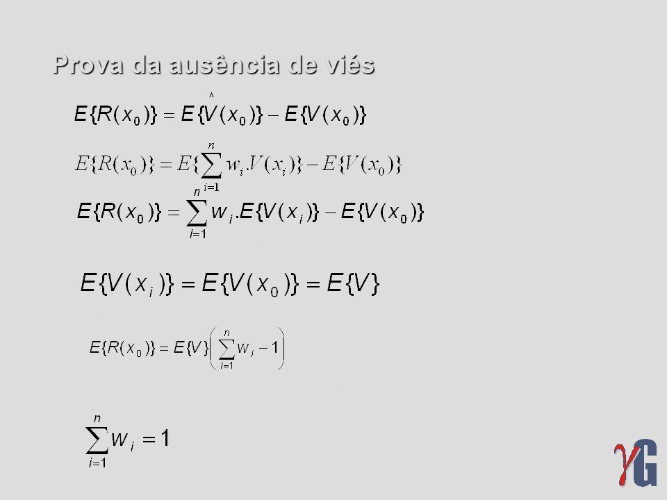 Prova da ausência de viés para a função aleatória estacionária, então, gerando assim a condição para que o método de estimativa não apresente viés: