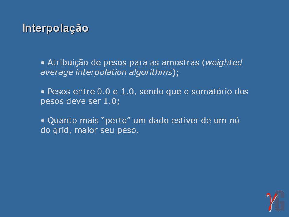 Interpolação Atribuição de pesos para as amostras (weighted average interpolation algorithms); Pesos entre 0.0 e 1.0, sendo que o somatório dos pesos