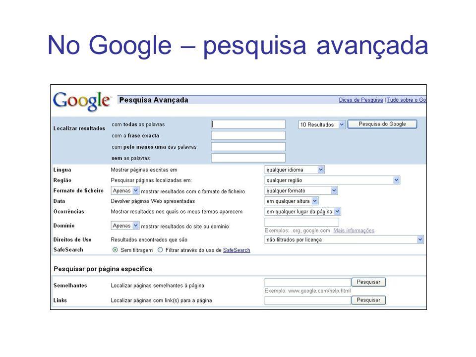 No Google – pesquisa avançada