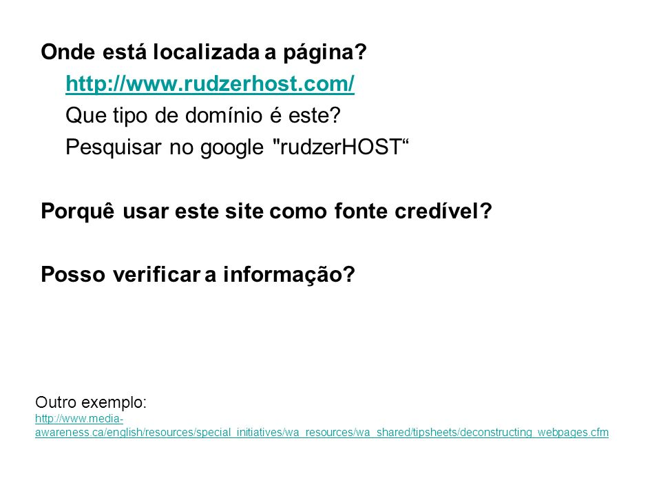 Onde está localizada a página? http://www.rudzerhost.com/ Que tipo de domínio é este? Pesquisar no google