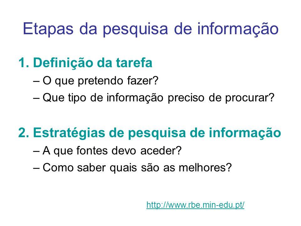 Etapas da pesquisa de informação 1. Definição da tarefa –O que pretendo fazer? –Que tipo de informação preciso de procurar? 2. Estratégias de pesquisa