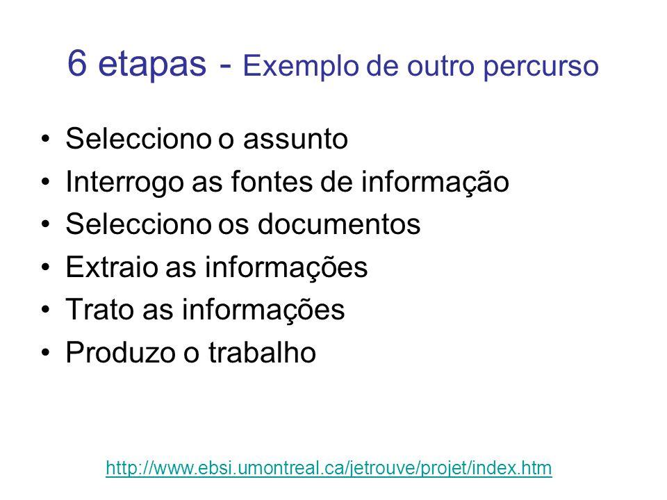 6 etapas - Exemplo de outro percurso Selecciono o assunto Interrogo as fontes de informação Selecciono os documentos Extraio as informações Trato as i