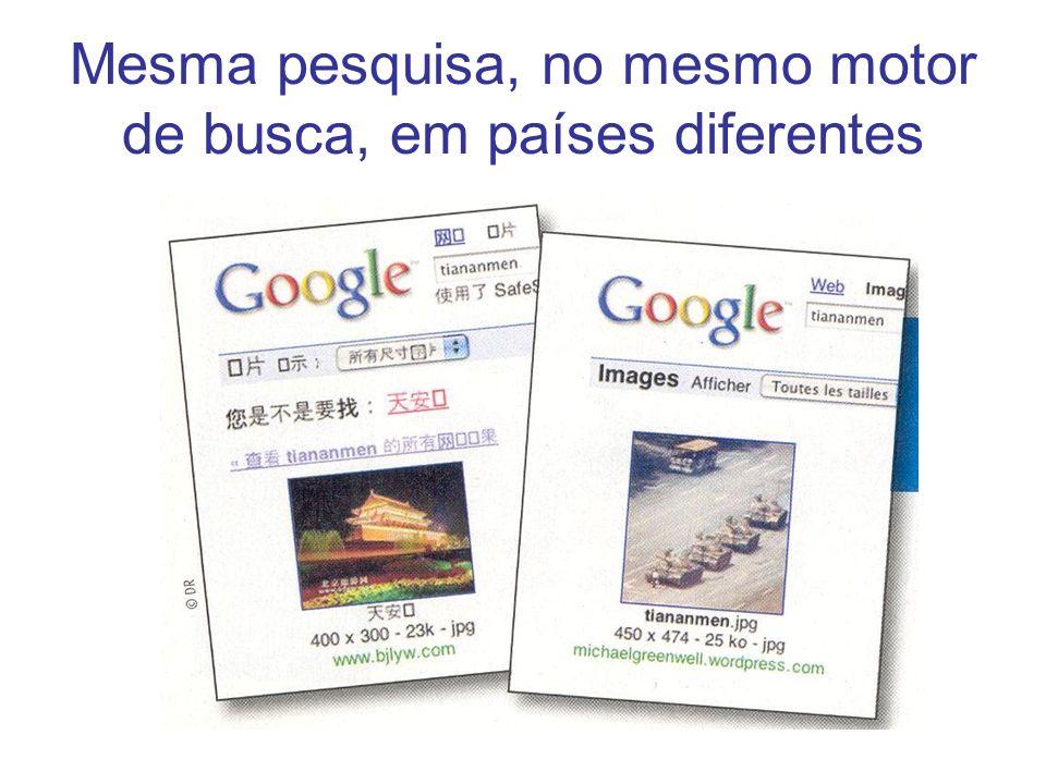 Mesma pesquisa em vários motores de busca http://www.yahoo.com/ http://www.google.com/ http://www.kartoo.com/ .