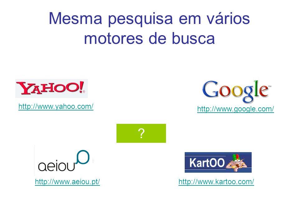 Mesma pesquisa em vários motores de busca http://www.yahoo.com/ http://www.google.com/ http://www.kartoo.com/ ? http://www.aeiou.pt/