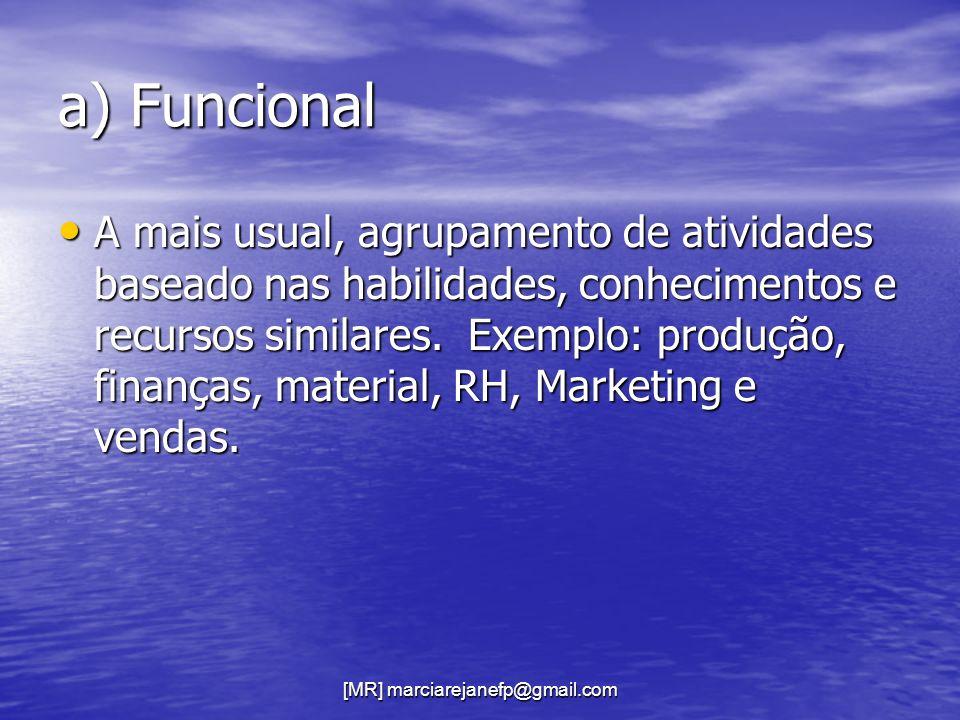 [MR] marciarejanefp@gmail.com a) Funcional A mais usual, agrupamento de atividades baseado nas habilidades, conhecimentos e recursos similares. Exempl