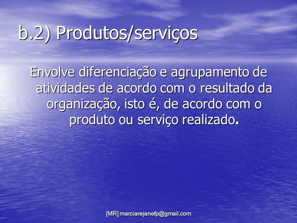 [MR] marciarejanefp@gmail.com b.2) Produtos/serviços Envolve diferenciação e agrupamento de atividades de acordo com o resultado da organização, isto