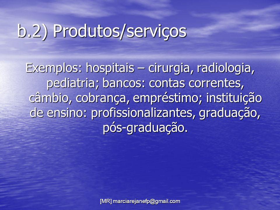 [MR] marciarejanefp@gmail.com b.2) Produtos/serviços Exemplos: hospitais – cirurgia, radiologia, pediatria; bancos: contas correntes, câmbio, cobrança