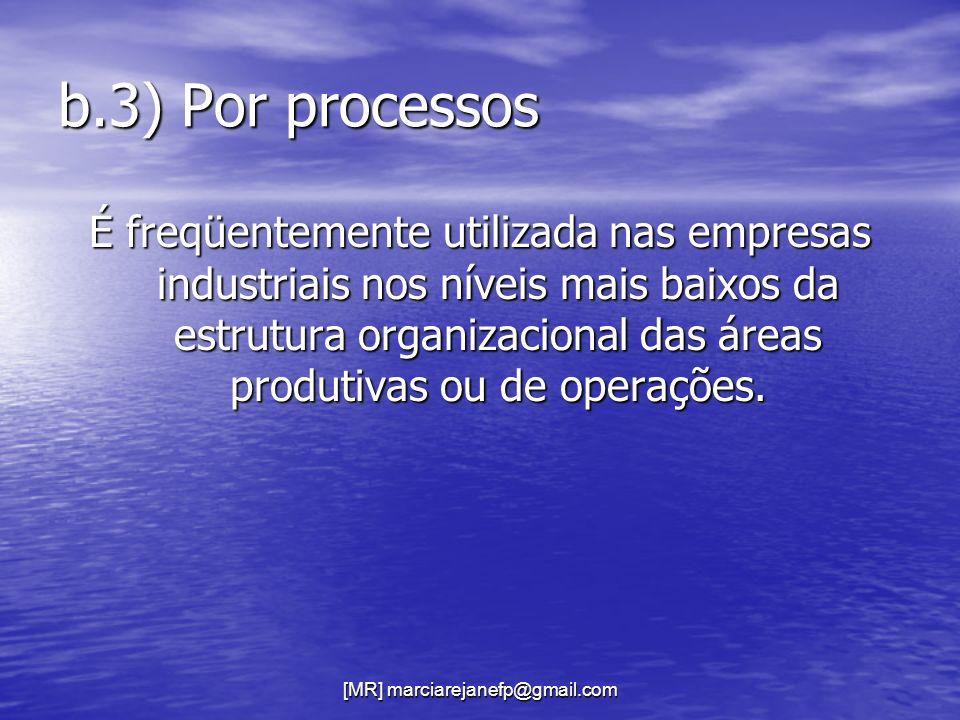 [MR] marciarejanefp@gmail.com b.3) Por processos É freqüentemente utilizada nas empresas industriais nos níveis mais baixos da estrutura organizaciona