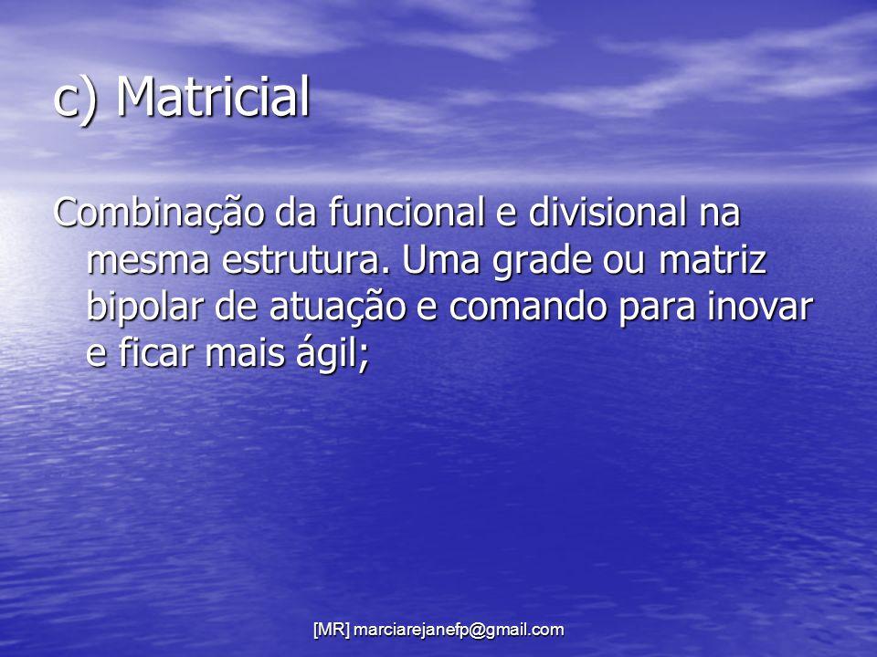 [MR] marciarejanefp@gmail.com c) Matricial Combinação da funcional e divisional na mesma estrutura. Uma grade ou matriz bipolar de atuação e comando p