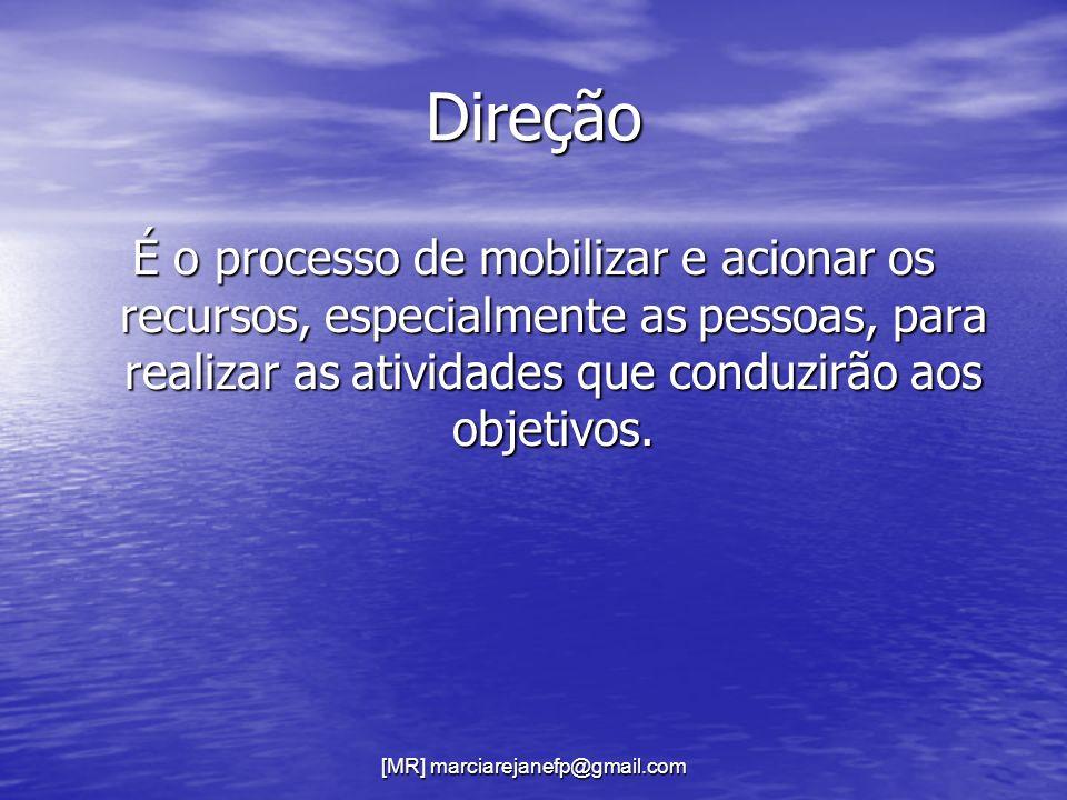 Direção É o processo de mobilizar e acionar os recursos, especialmente as pessoas, para realizar as atividades que conduzirão aos objetivos.