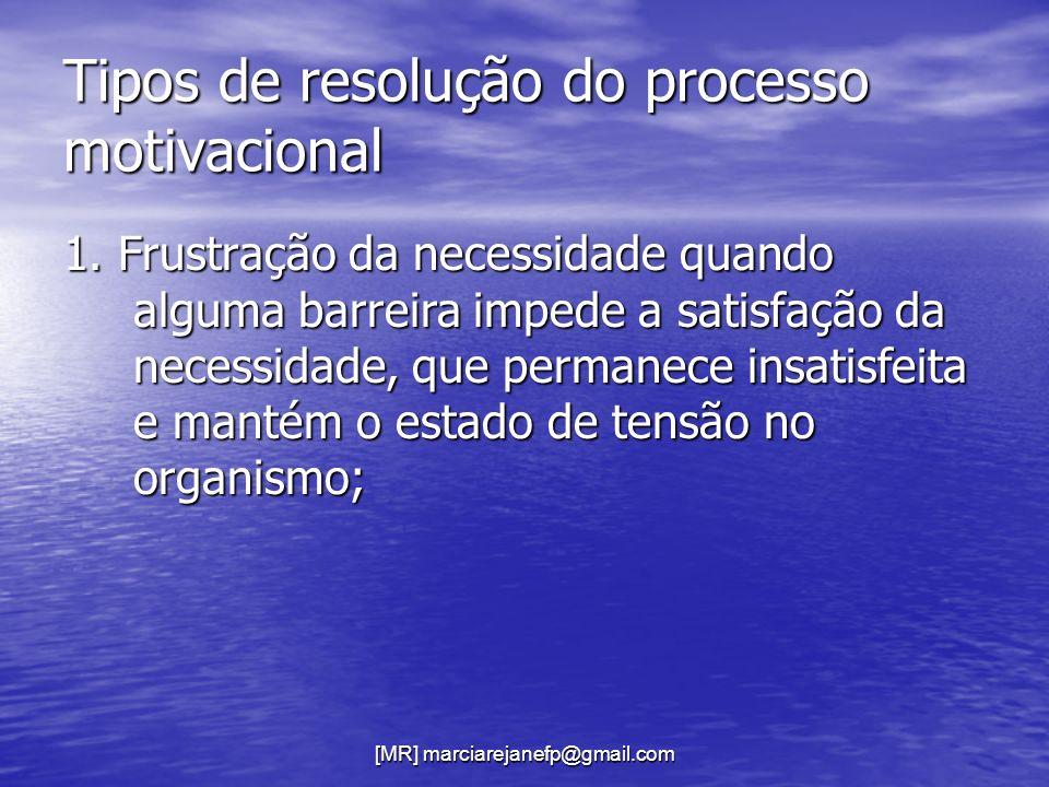 [MR] marciarejanefp@gmail.com Tipos de resolução do processo motivacional 1. Frustração da necessidade quando alguma barreira impede a satisfação da n