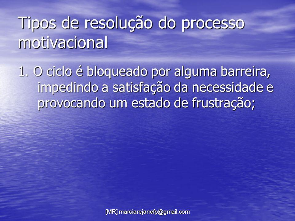 [MR] marciarejanefp@gmail.com Tipos de resolução do processo motivacional 1. O ciclo é bloqueado por alguma barreira, impedindo a satisfação da necess