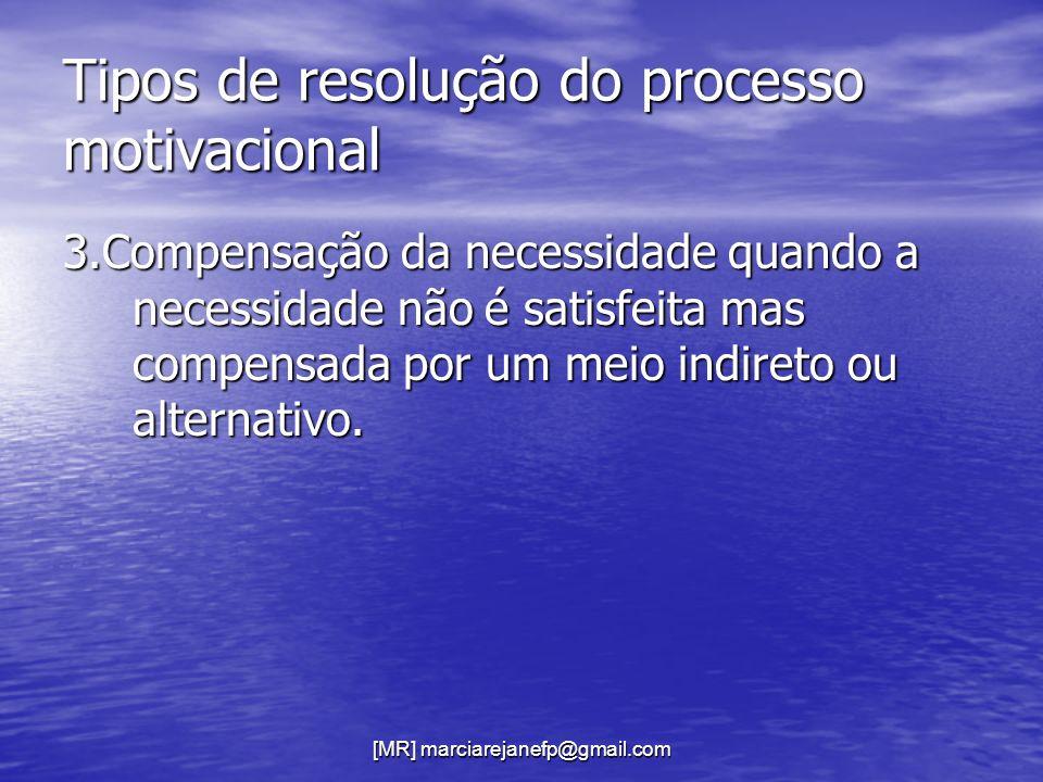[MR] marciarejanefp@gmail.com Tipos de resolução do processo motivacional 3.Compensação da necessidade quando a necessidade não é satisfeita mas compe