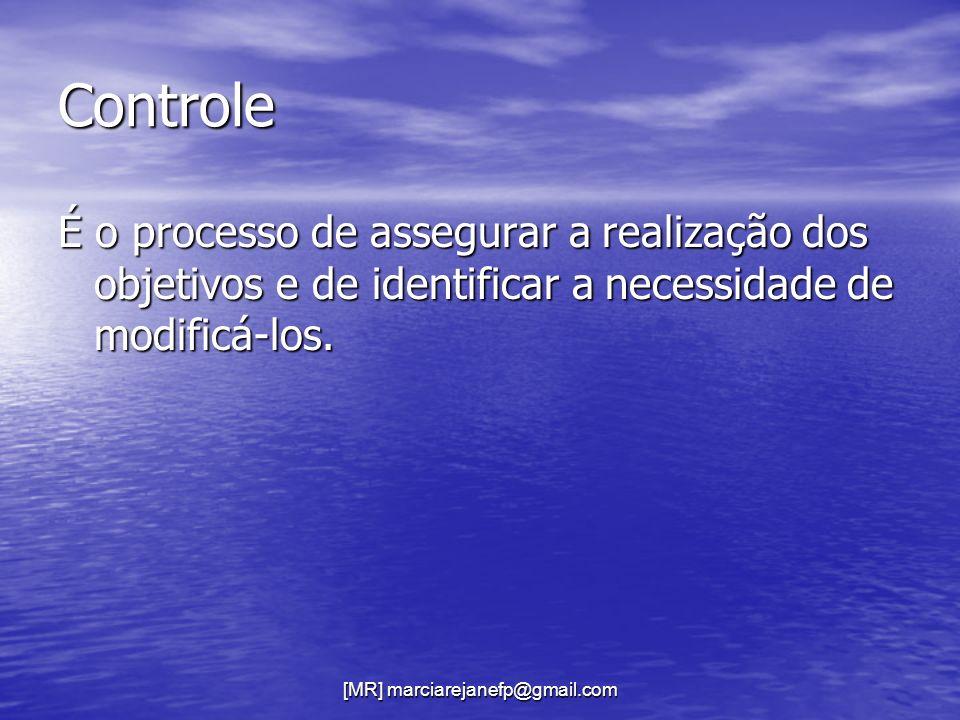 Controle É o processo de assegurar a realização dos objetivos e de identificar a necessidade de modificá-los.