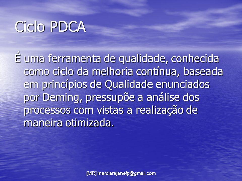 [MR] marciarejanefp@gmail.com Ciclo PDCA É uma ferramenta de qualidade, conhecida como ciclo da melhoria contínua, baseada em princípios de Qualidade