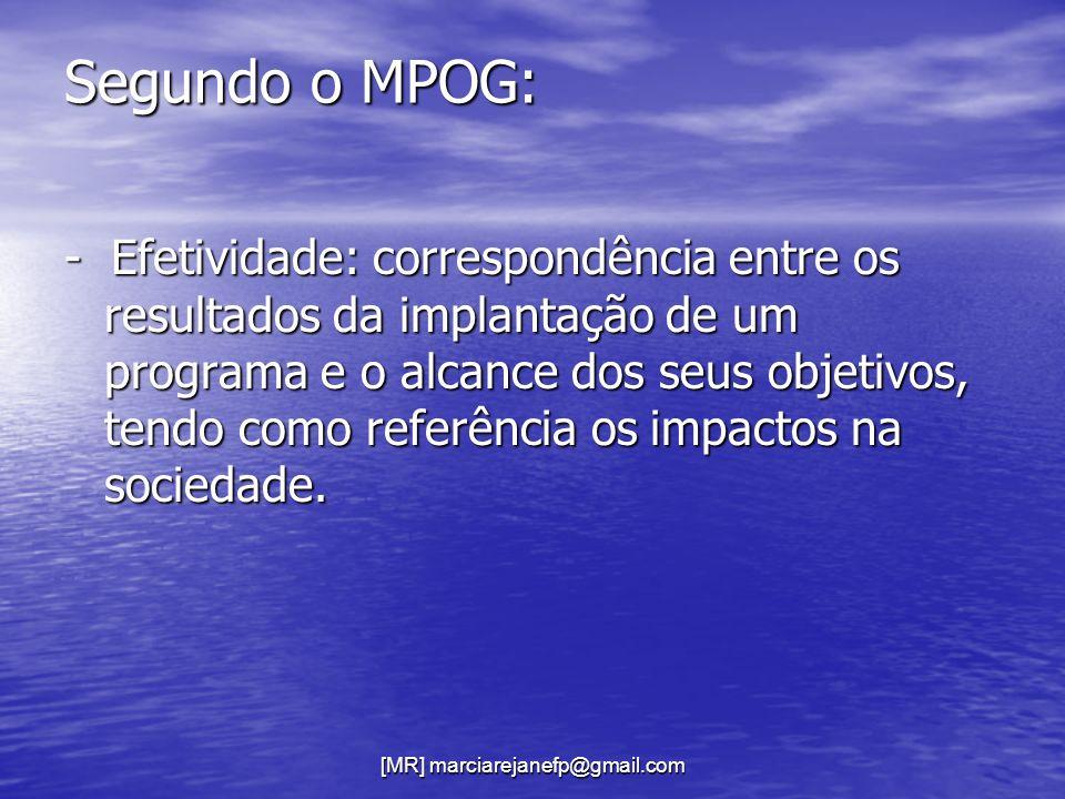 [MR] marciarejanefp@gmail.com Segundo o MPOG: - Efetividade: correspondência entre os resultados da implantação de um programa e o alcance dos seus ob