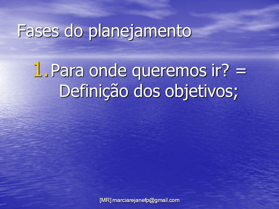 [MR] marciarejanefp@gmail.com Fases do planejamento 1. Para onde queremos ir? = Definição dos objetivos;