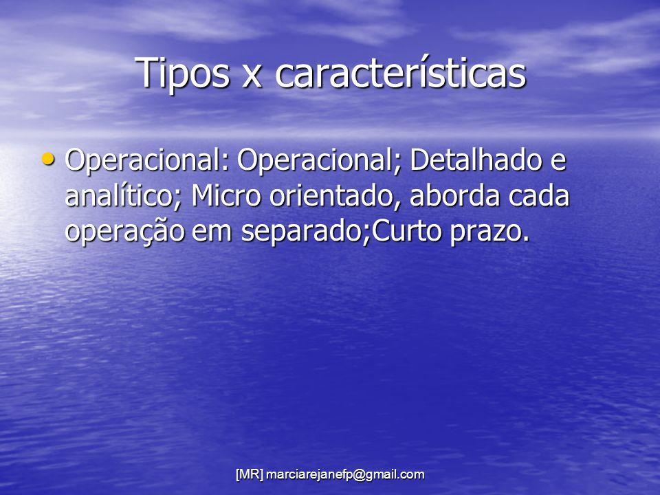 [MR] marciarejanefp@gmail.com Tipos x características Operacional: Operacional; Detalhado e analítico; Micro orientado, aborda cada operação em separa