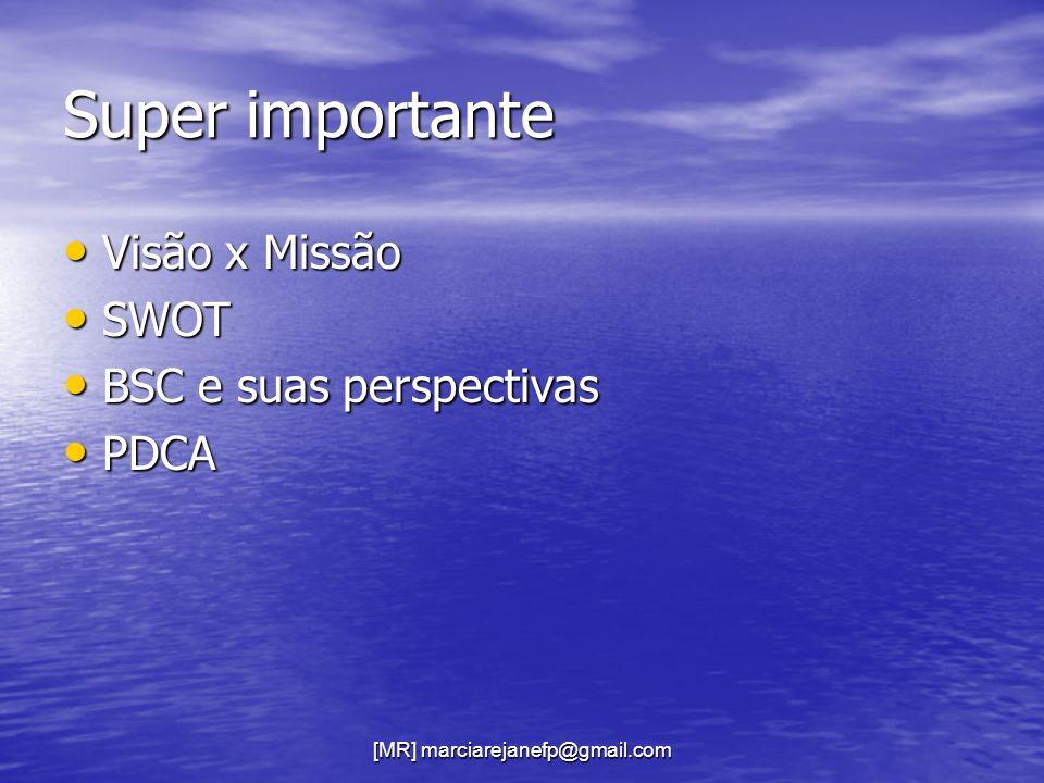 Super importante Visão x Missão Visão x Missão SWOT SWOT BSC e suas perspectivas BSC e suas perspectivas PDCA PDCA