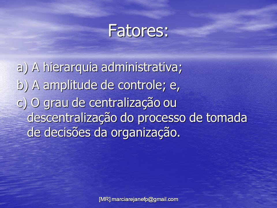 [MR] marciarejanefp@gmail.com Fatores: a) A hierarquia administrativa; b) A amplitude de controle; e, c) O grau de centralização ou descentralização d