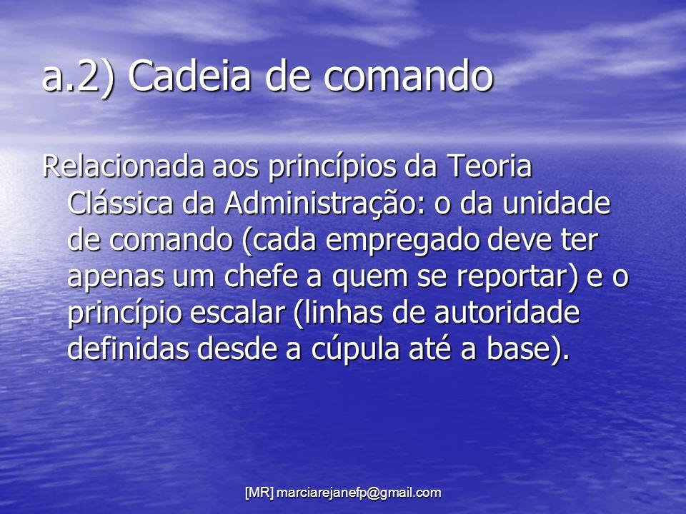 [MR] marciarejanefp@gmail.com a.2) Cadeia de comando Relacionada aos princípios da Teoria Clássica da Administração: o da unidade de comando (cada emp