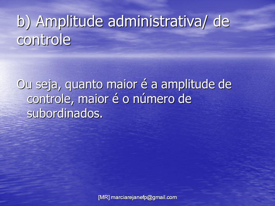 [MR] marciarejanefp@gmail.com b) Amplitude administrativa/ de controle Ou seja, quanto maior é a amplitude de controle, maior é o número de subordinad