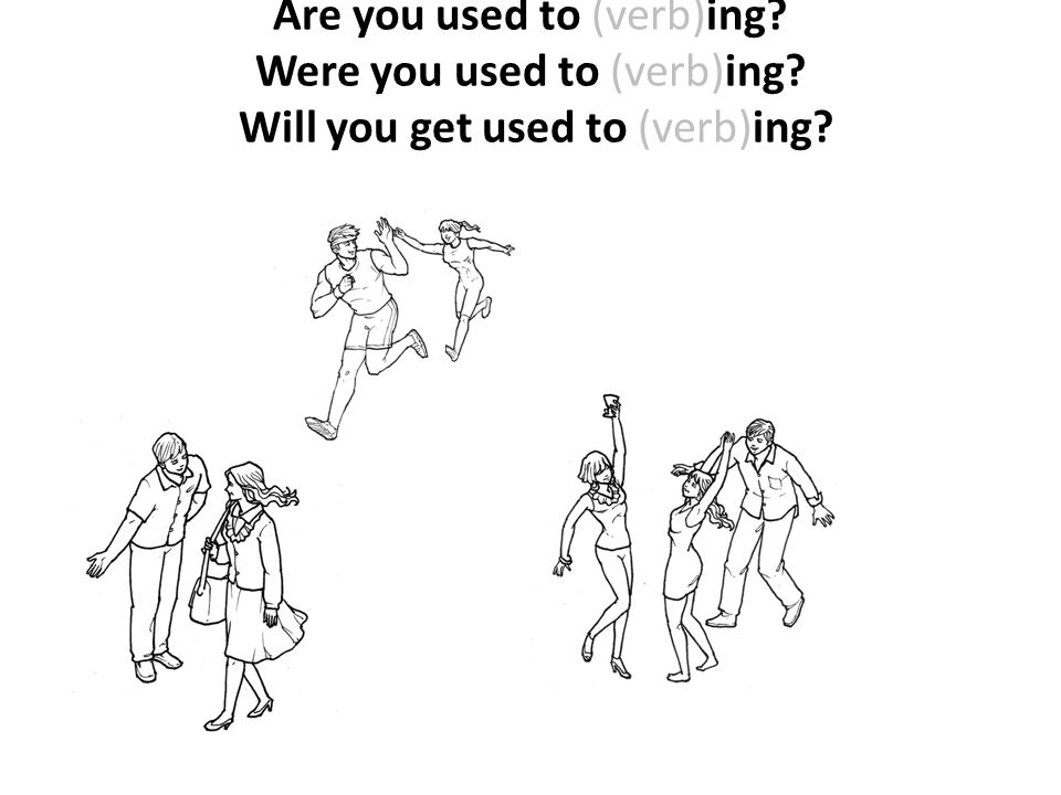 Are you used to (verb)ing? Were you used to (verb)ing? Will you get used to (verb)ing?