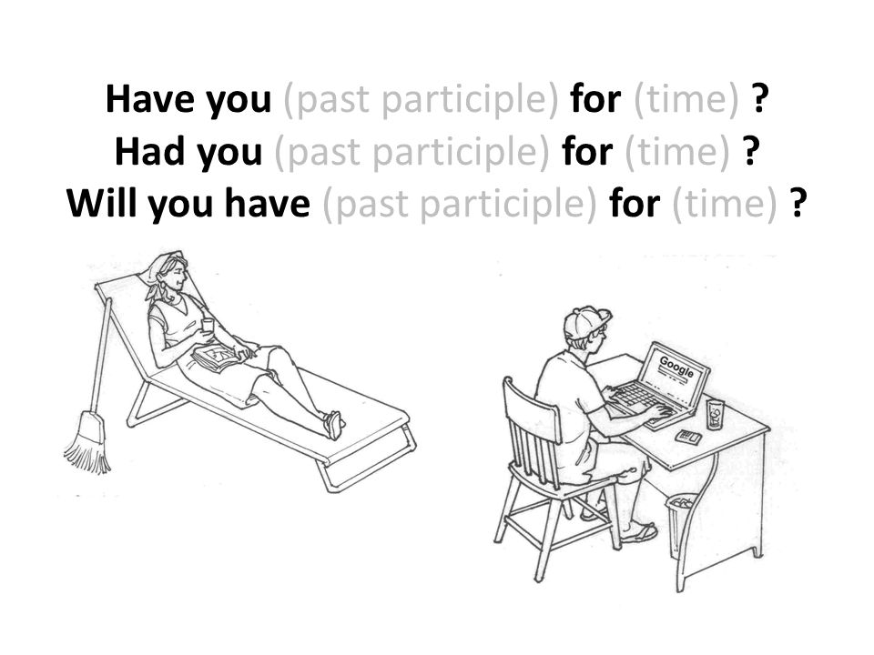Have you (past participle) for (time) ? Had you (past participle) for (time) ? Will you have (past participle) for (time) ?
