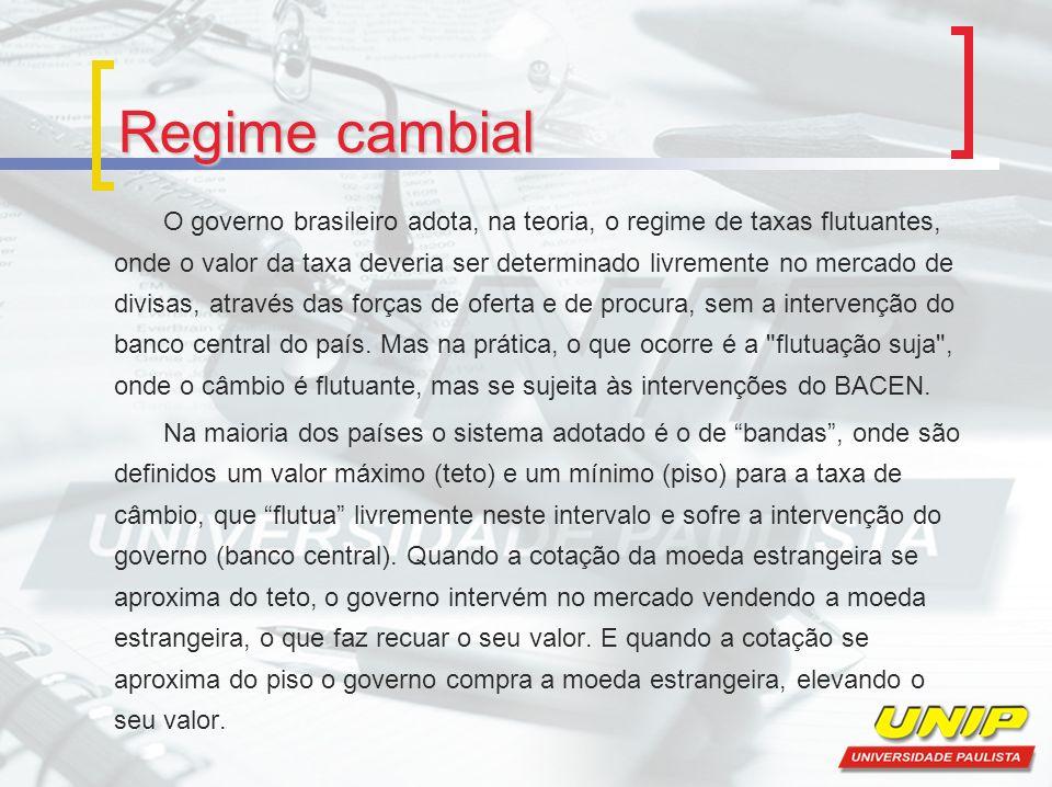 Regime cambial O governo brasileiro adota, na teoria, o regime de taxas flutuantes, onde o valor da taxa deveria ser determinado livremente no mercado