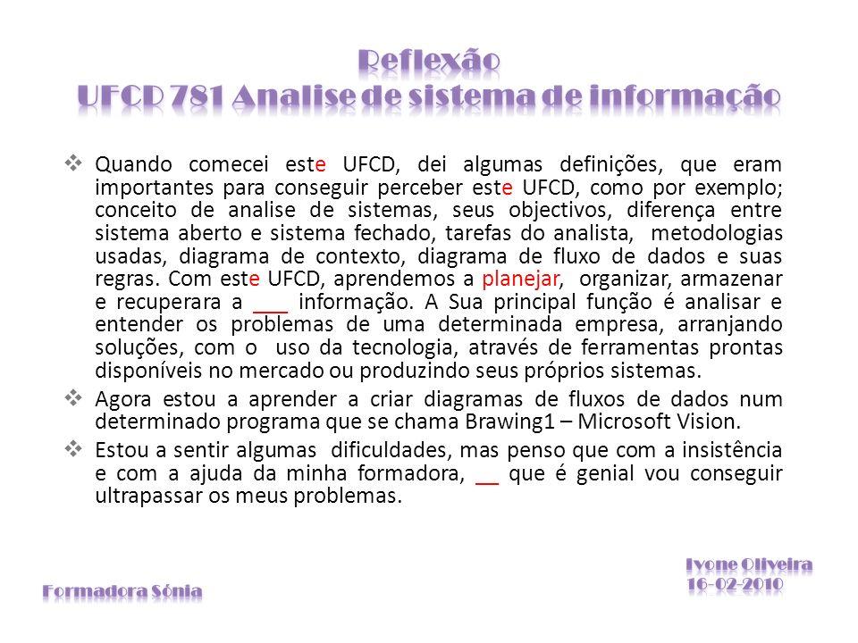 Quando comecei este UFCD, dei algumas definições, que eram importantes para conseguir perceber este UFCD, como por exemplo; conceito de analise de sis