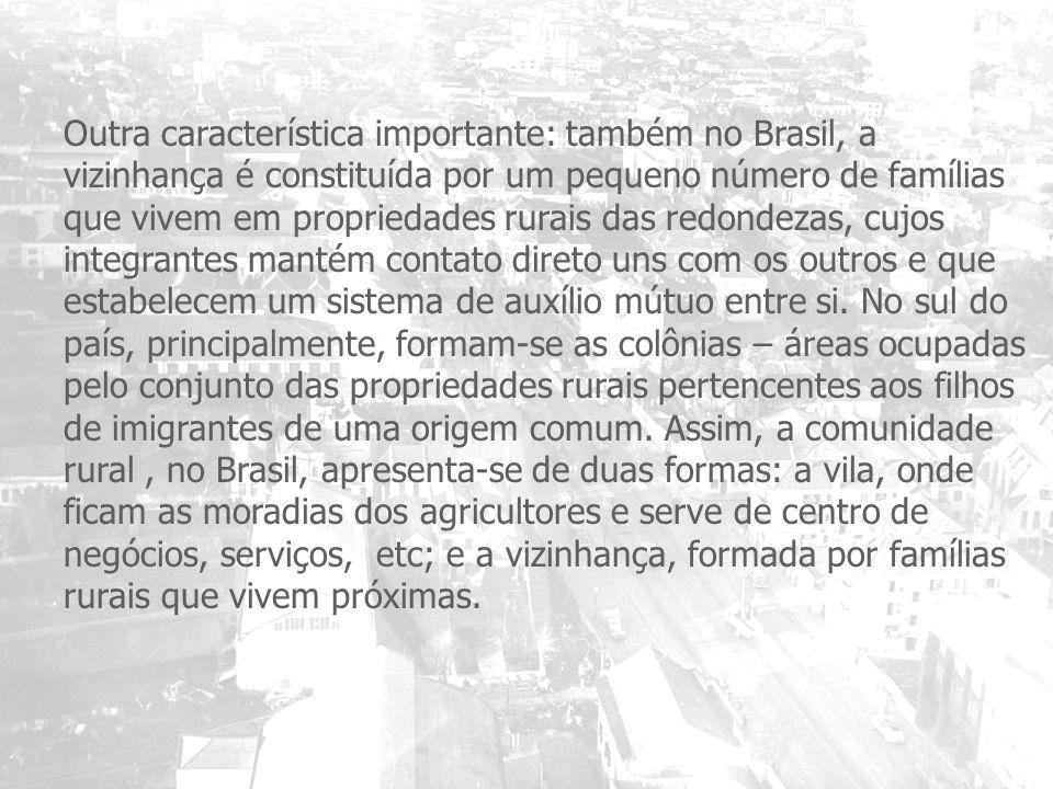 Outra característica importante: também no Brasil, a vizinhança é constituída por um pequeno número de famílias que vivem em propriedades rurais das r