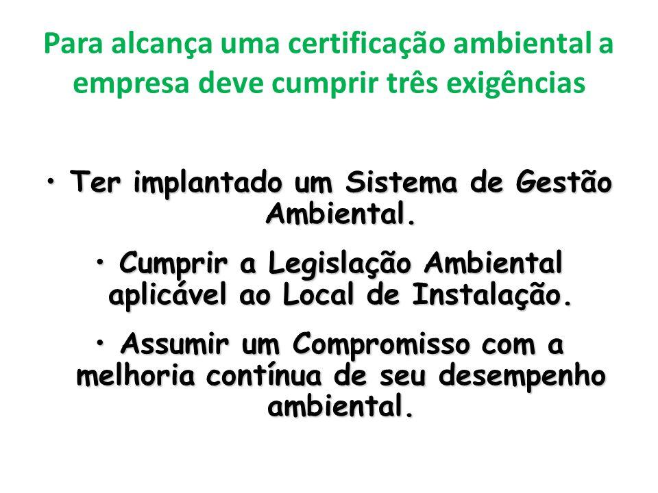 Para alcança uma certificação ambiental a empresa deve cumprir três exigências Ter implantado um Sistema de Gestão Ambiental.Ter implantado um Sistema de Gestão Ambiental.