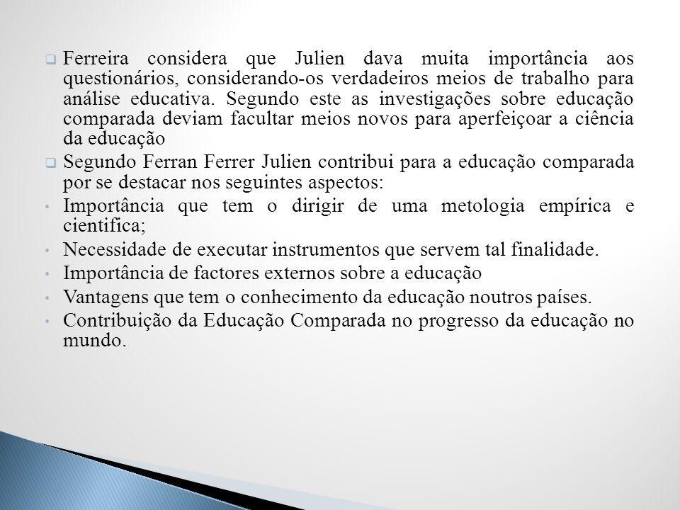 Ferreira considera que Julien dava muita importância aos questionários, considerando-os verdadeiros meios de trabalho para análise educativa. Segundo