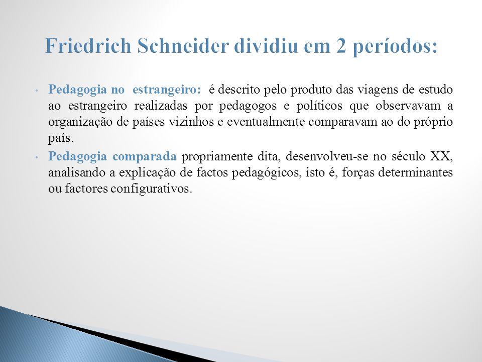 Pedagogia no estrangeiro: é descrito pelo produto das viagens de estudo ao estrangeiro realizadas por pedagogos e políticos que observavam a organizaç