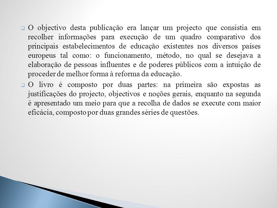 Ferreira considera que Julien dava muita importância aos questionários, considerando-os verdadeiros meios de trabalho para análise educativa.