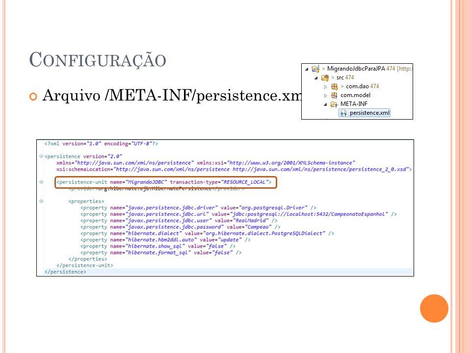 C ONFIGURAÇÃO Arquivo /META-INF/persistence.xml