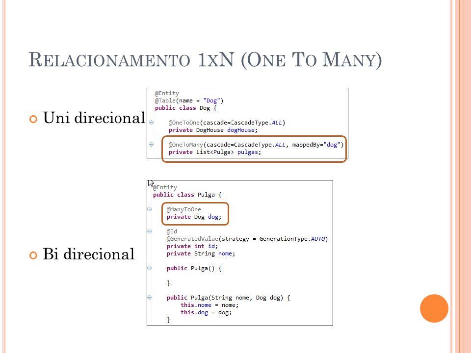 R ELACIONAMENTO 1 X N (O NE T O M ANY ) Uni direcional: Bi direcional