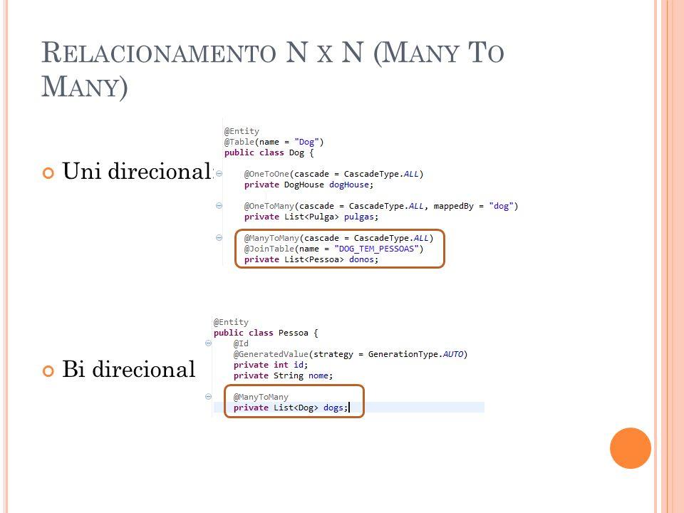 R ELACIONAMENTO N X N (M ANY T O M ANY ) Uni direcional: Bi direcional
