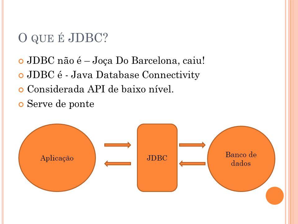 O QUE É JDBC? JDBC não é – Joça Do Barcelona, caiu! JDBC é - Java Database Connectivity Considerada API de baixo nível. Serve de ponte AplicaçãoJDBC B